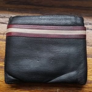 Used Bally mens brown leather wallet